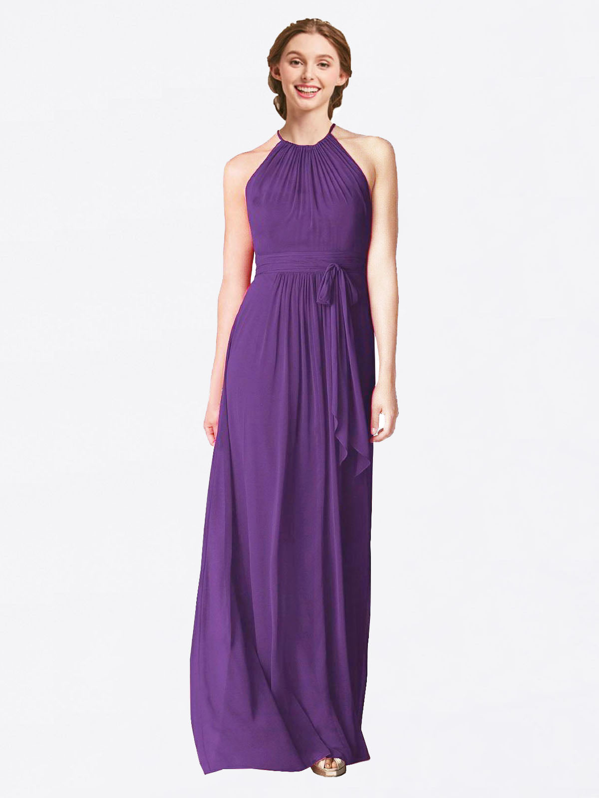 Long A-Line Halter Sleeveless Plum Purple Chiffon Bridesmaid Dress Laura