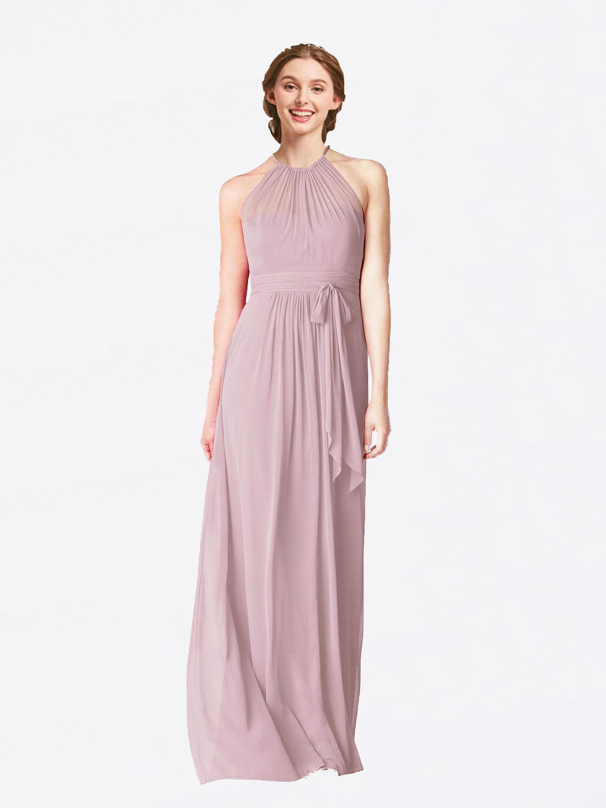 Long A-Line Halter Sleeveless Primrose Chiffon Bridesmaid Dress Laura