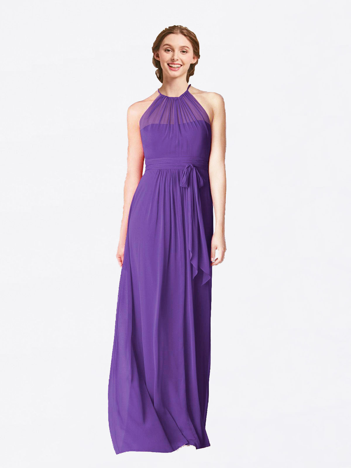 Long A-Line Halter Sleeveless Purple Chiffon Bridesmaid Dress Laura