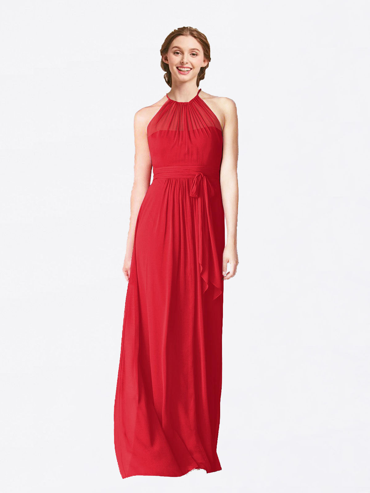 Long A-Line Halter Sleeveless Red Chiffon Bridesmaid Dress Laura