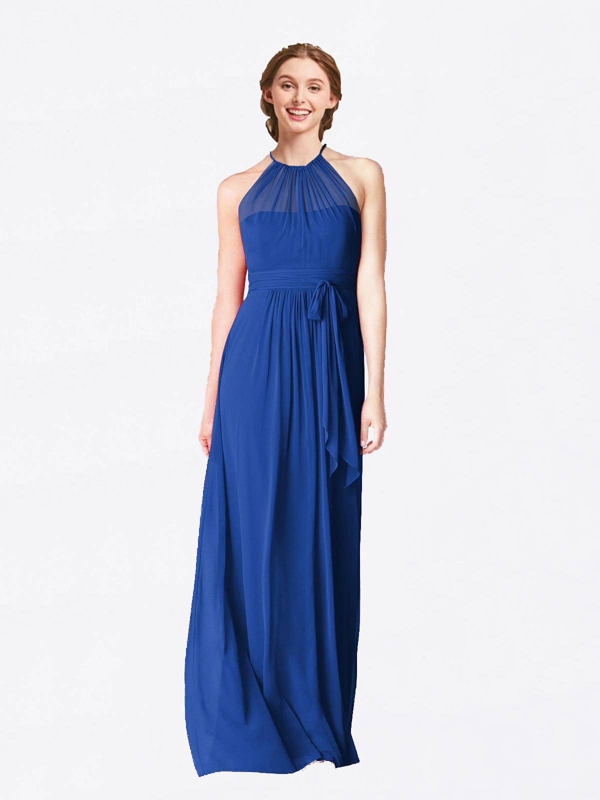Long A-Line Halter Sleeveless Royal Blue Chiffon Bridesmaid Dress Laura