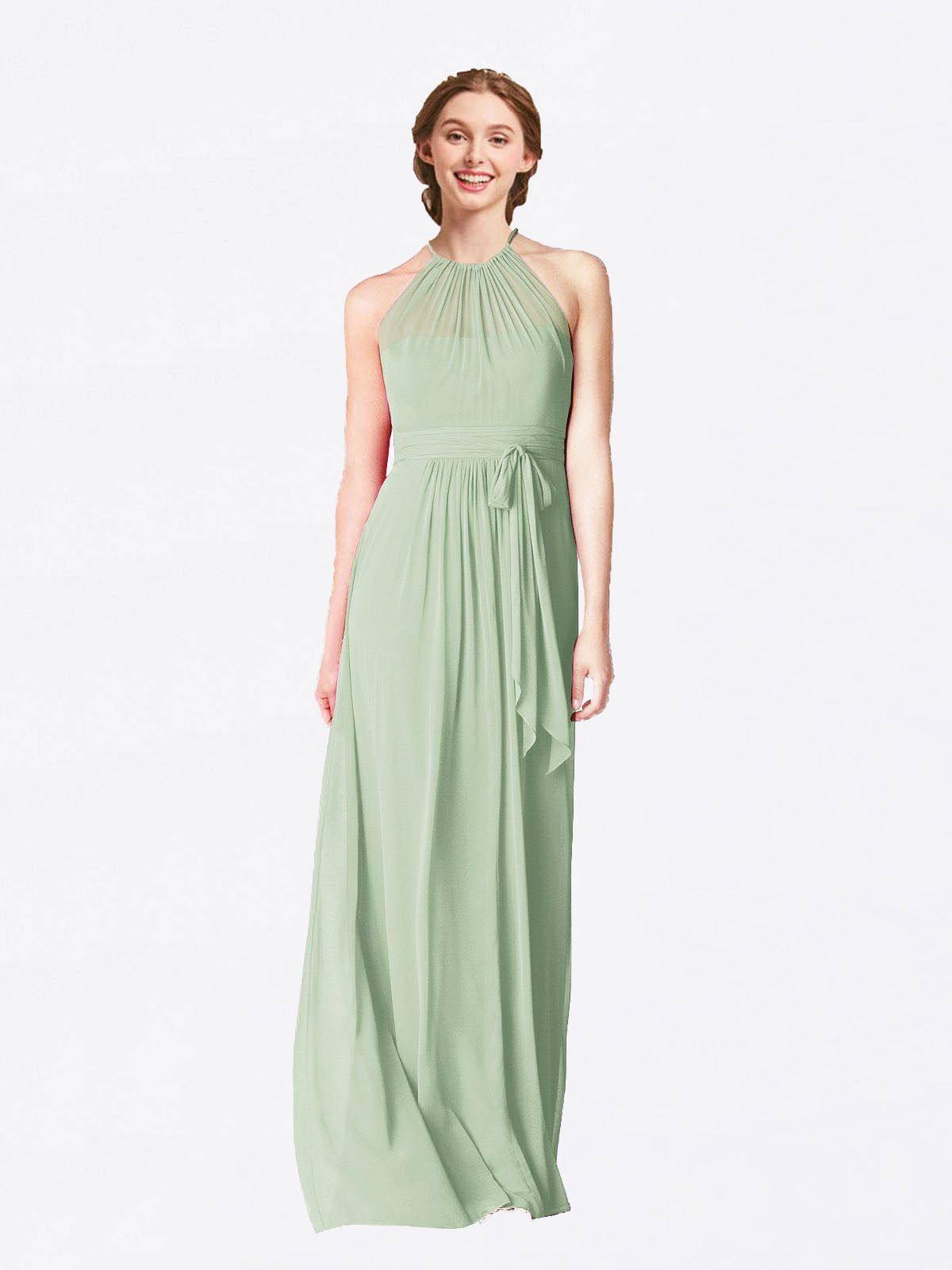 Long A-Line Halter Sleeveless Sage Chiffon Bridesmaid Dress Laura
