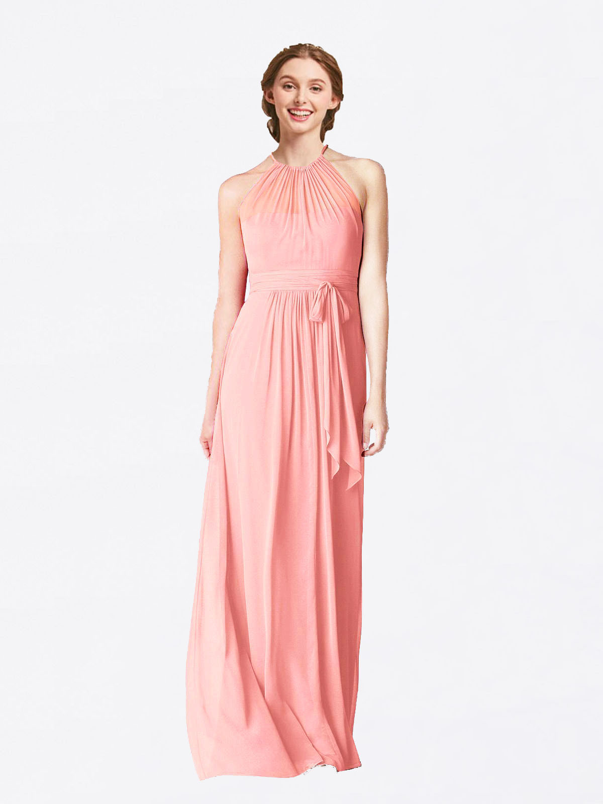 Long A-Line Halter Sleeveless Salmon Chiffon Bridesmaid Dress Laura