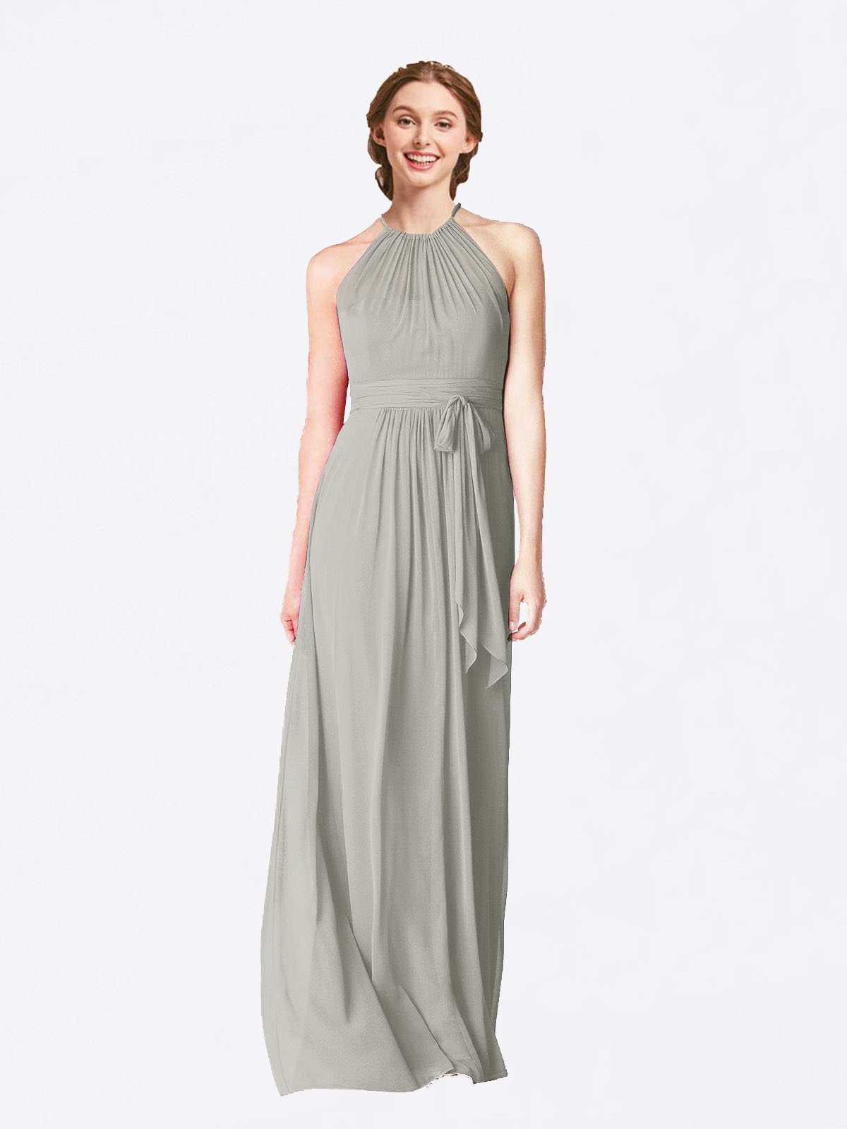 Long A-Line Halter Sleeveless Silver Chiffon Bridesmaid Dress Laura
