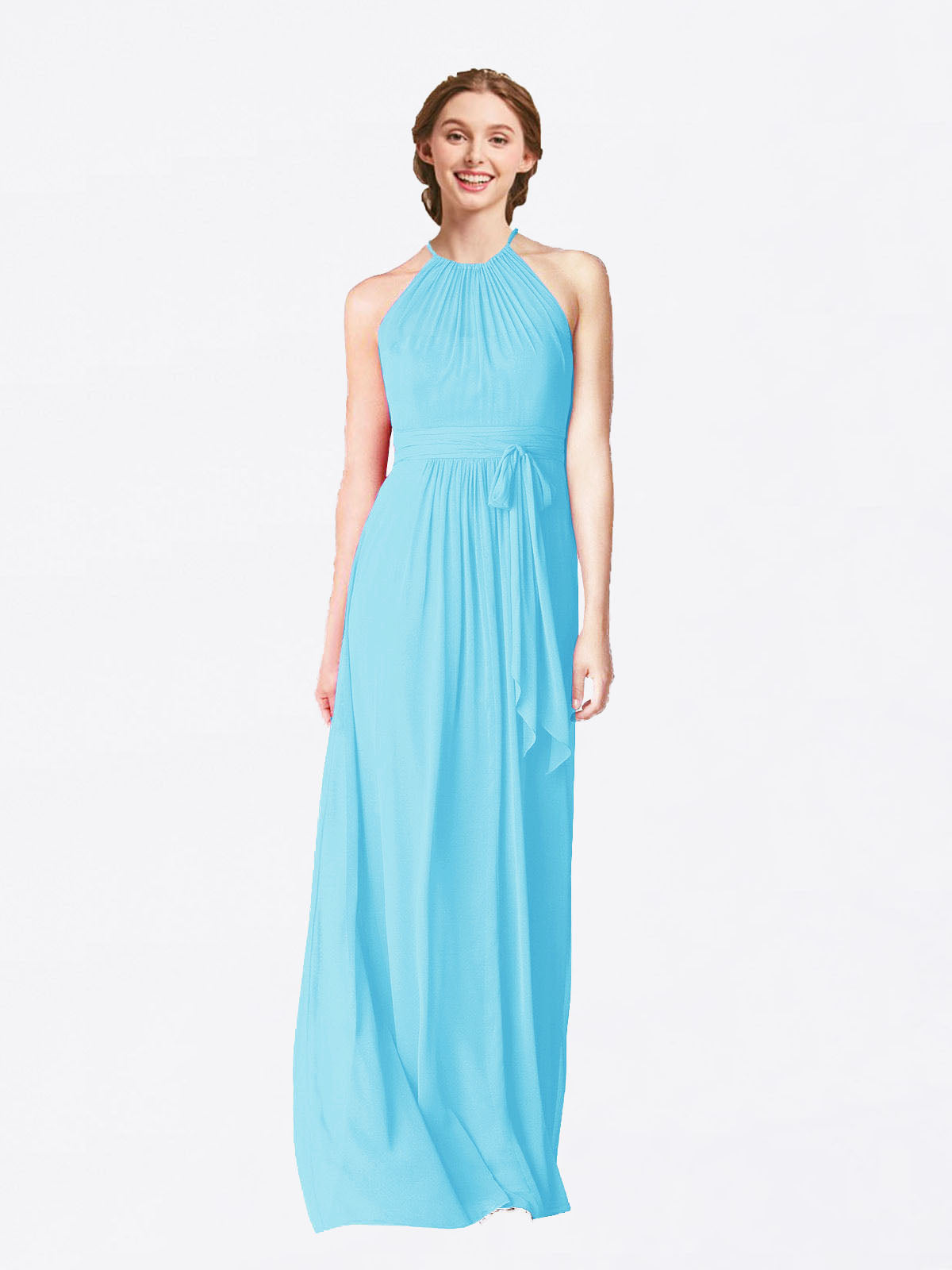 Long A-Line Halter Sleeveless Sky Blue Chiffon Bridesmaid Dress Laura