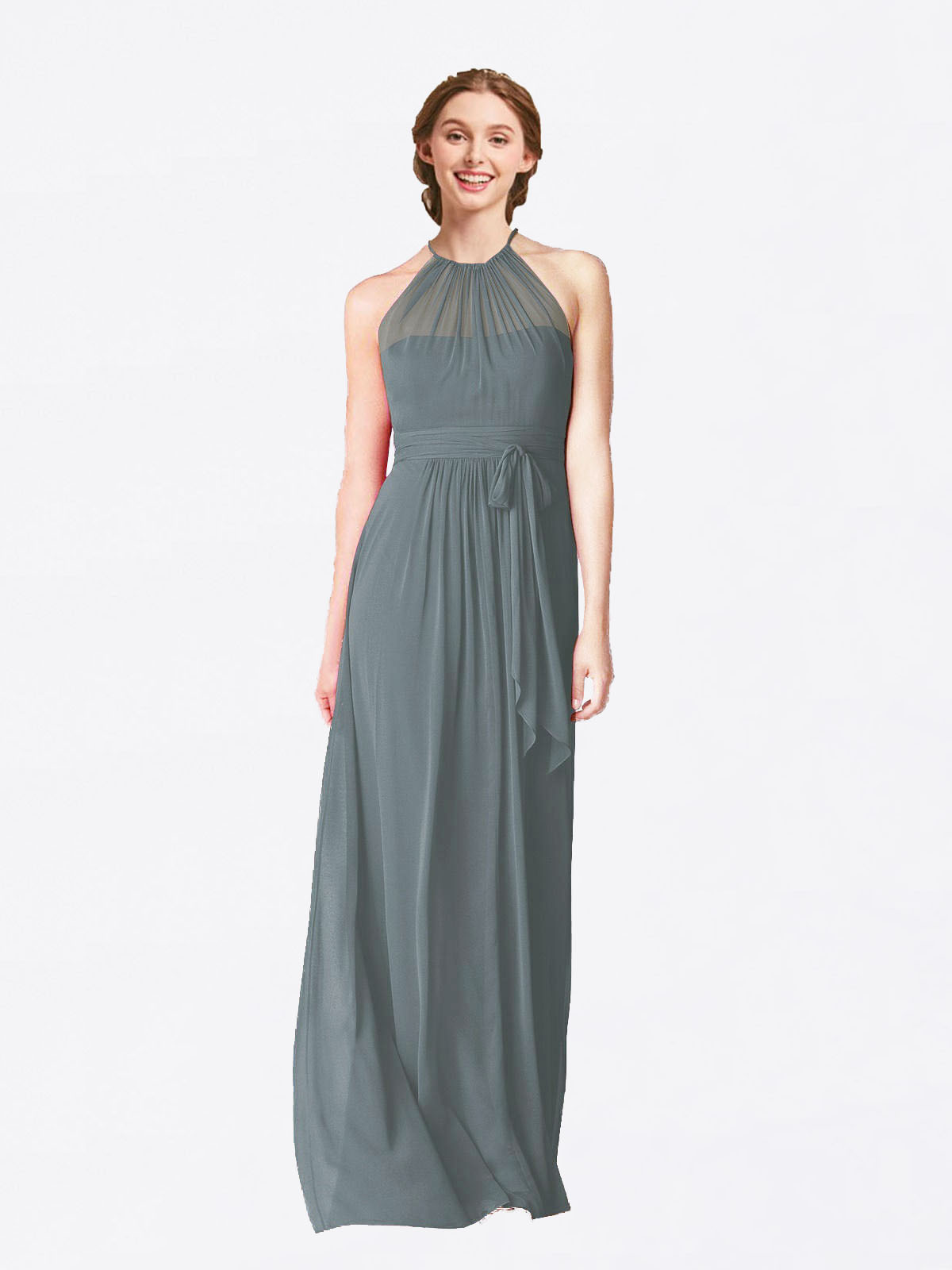 Long A-Line Halter Sleeveless Slate Grey Chiffon Bridesmaid Dress Laura