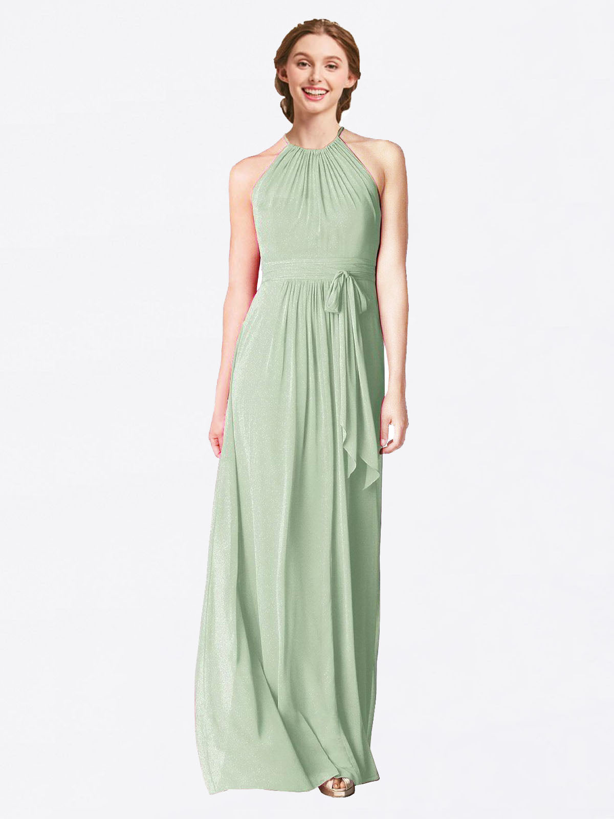 Long A-Line Halter Sleeveless Smoke Green Chiffon Bridesmaid Dress Laura