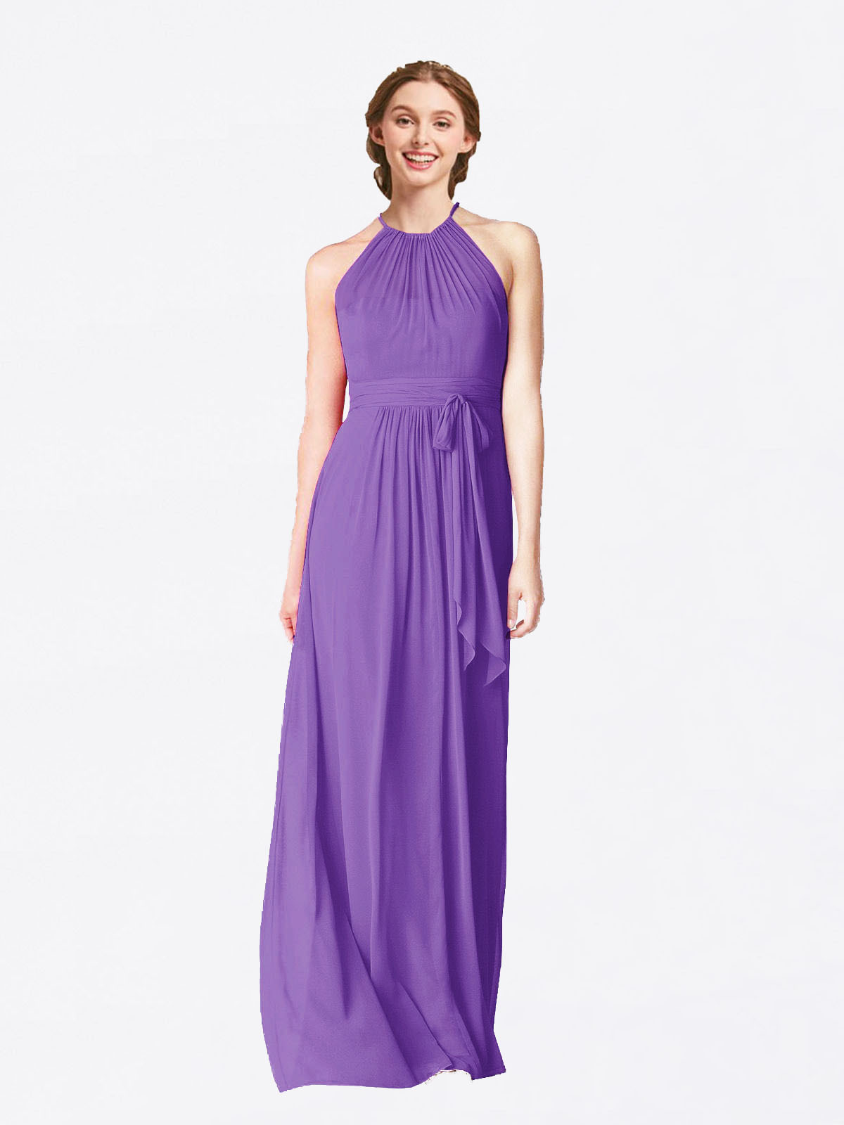 Long A-Line Halter Sleeveless Tahiti Chiffon Bridesmaid Dress Laura