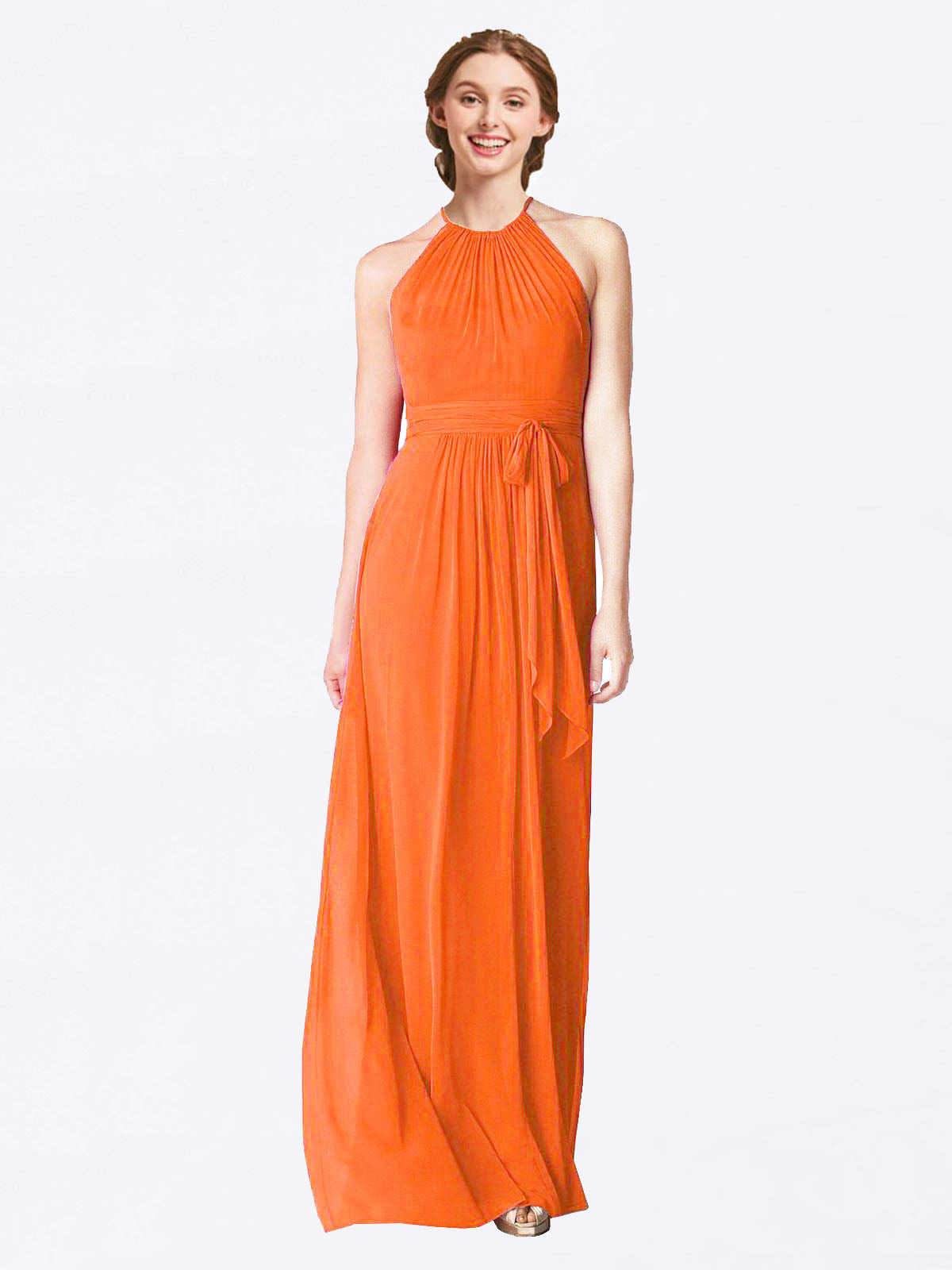 Long A-Line Halter Sleeveless Tangerine Tango Chiffon Bridesmaid Dress Laura