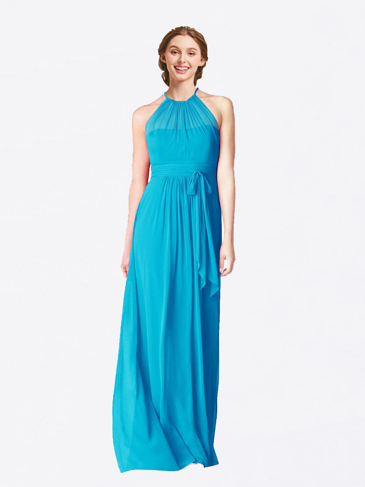 Long A-Line Halter Sleeveless Turquoise Chiffon Bridesmaid Dress Laura