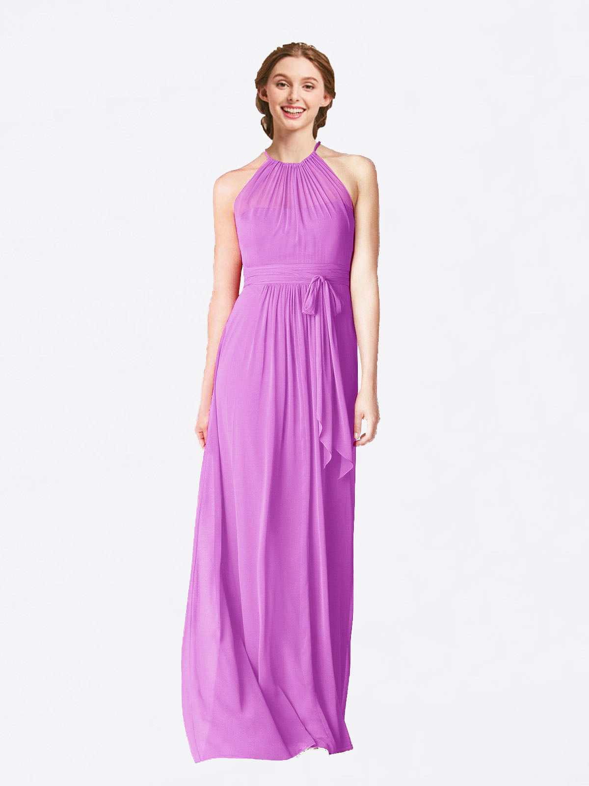 Long A-Line Halter Sleeveless Violet Chiffon Bridesmaid Dress Laura