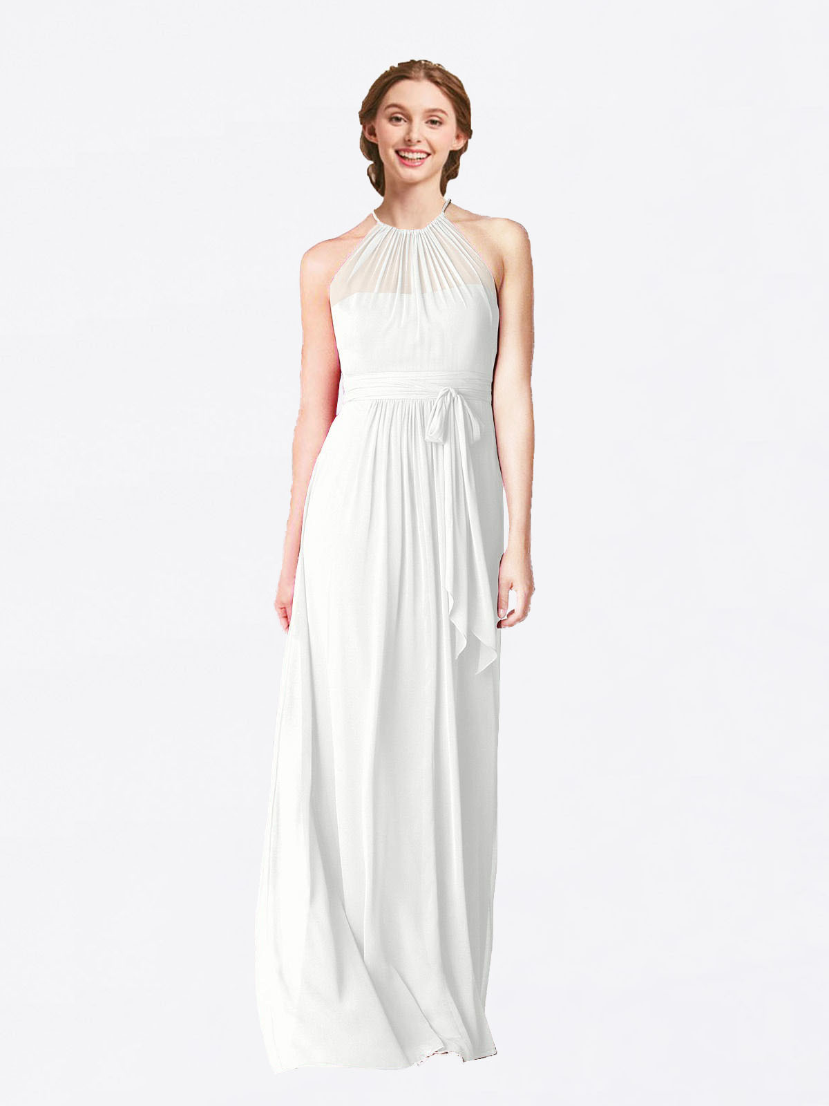 Long A-Line Halter Sleeveless White Chiffon Bridesmaid Dress Laura
