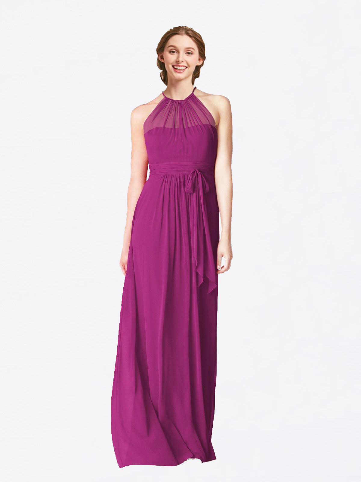 Long A-Line Halter Sleeveless Wild Berry Chiffon Bridesmaid Dress Laura