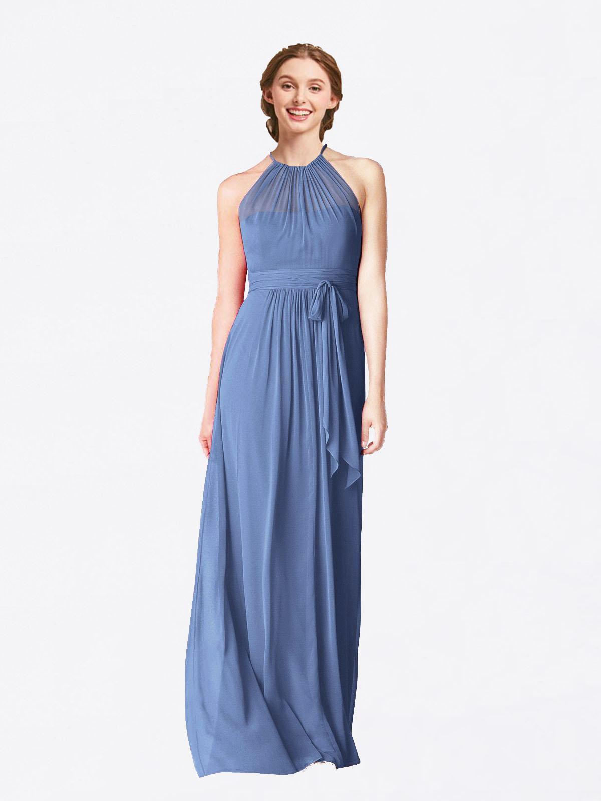 Long A-Line Halter Sleeveless Windsor Blue Chiffon Bridesmaid Dress Laura