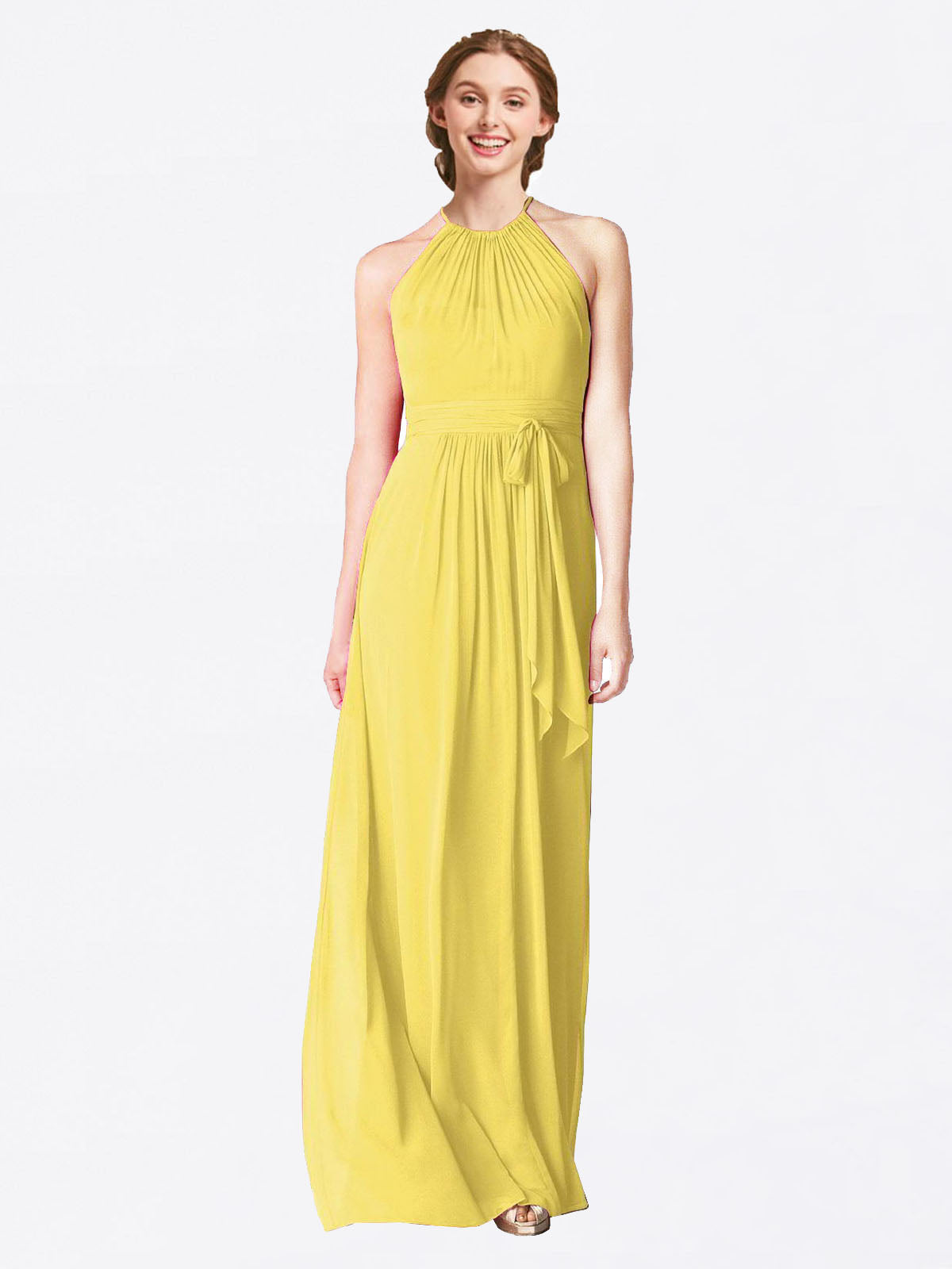 Long A-Line Halter Sleeveless Yellow Chiffon Bridesmaid Dress Laura