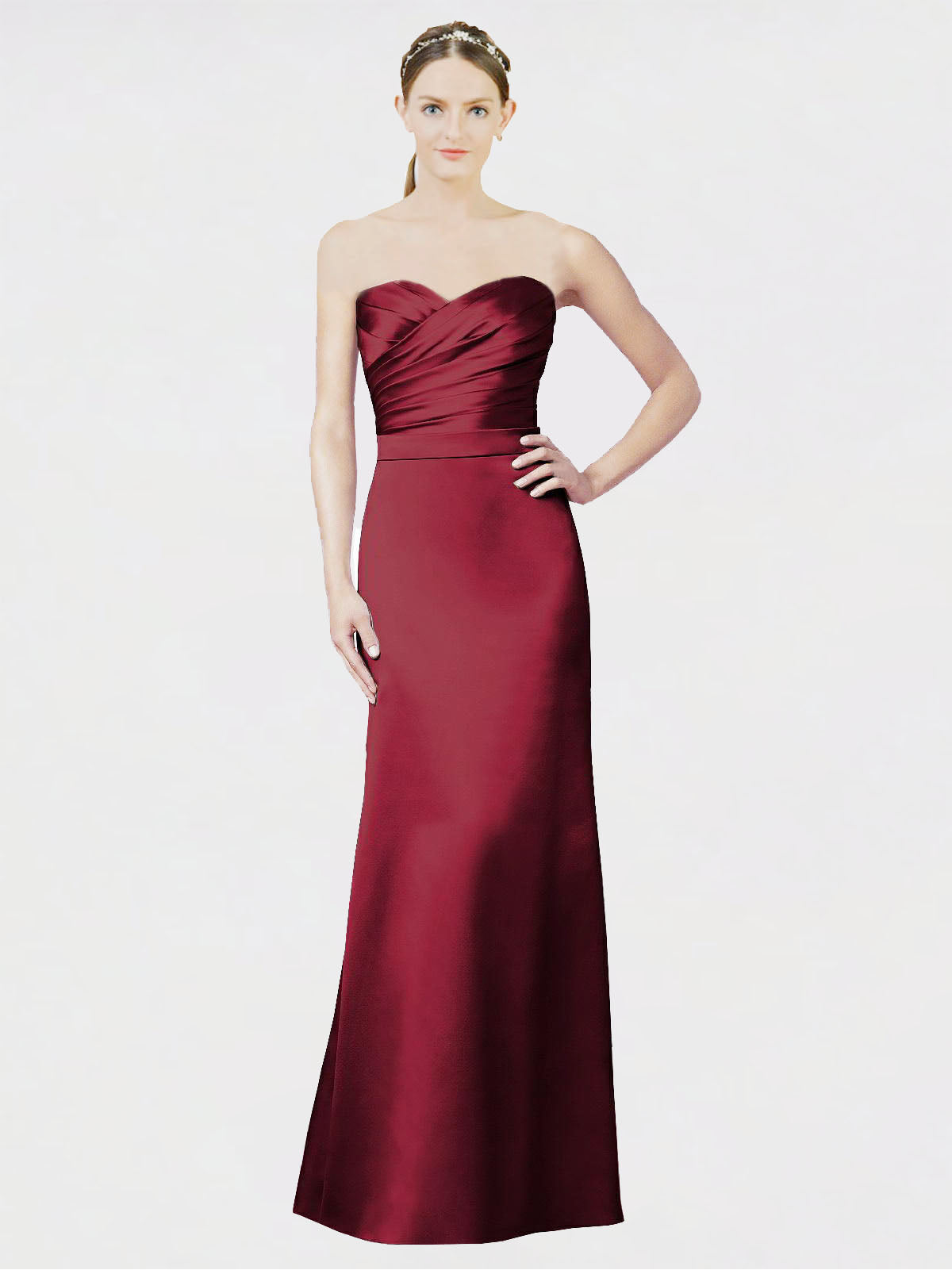 Long Mermaid Sweetheart, Strapless Sleeveless Burgundy Satin Bridesmaid Dress Evelynn