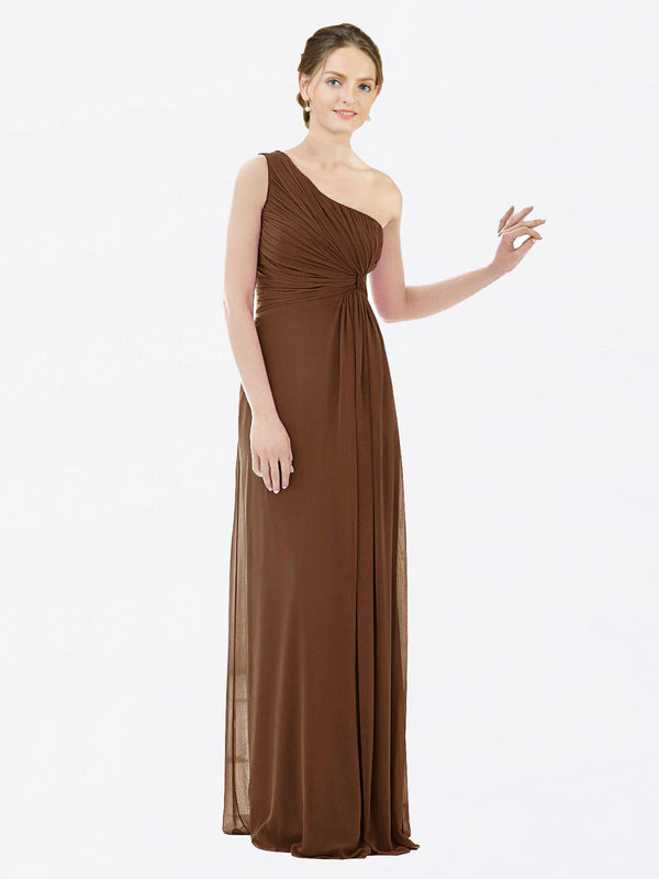 Long A-Line One Shoulder Sleeveless Brown Chiffon Bridesmaid Dress Lexi