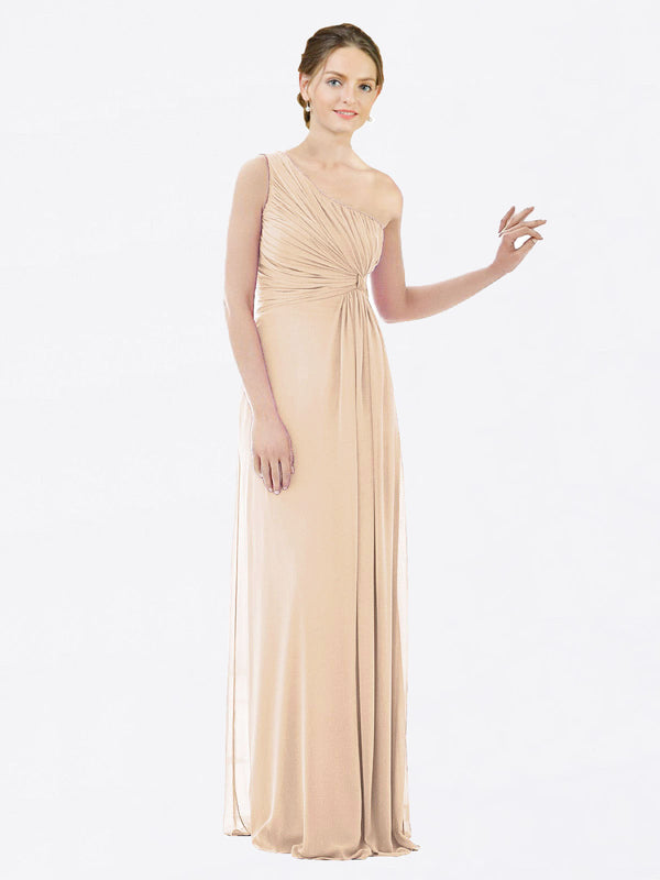 Long A-Line One Shoulder Sleeveless Champagne Chiffon Bridesmaid Dress Lexi
