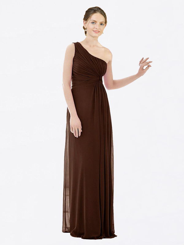 Long A-Line One Shoulder Sleeveless Chocolate Chiffon Bridesmaid Dress Lexi