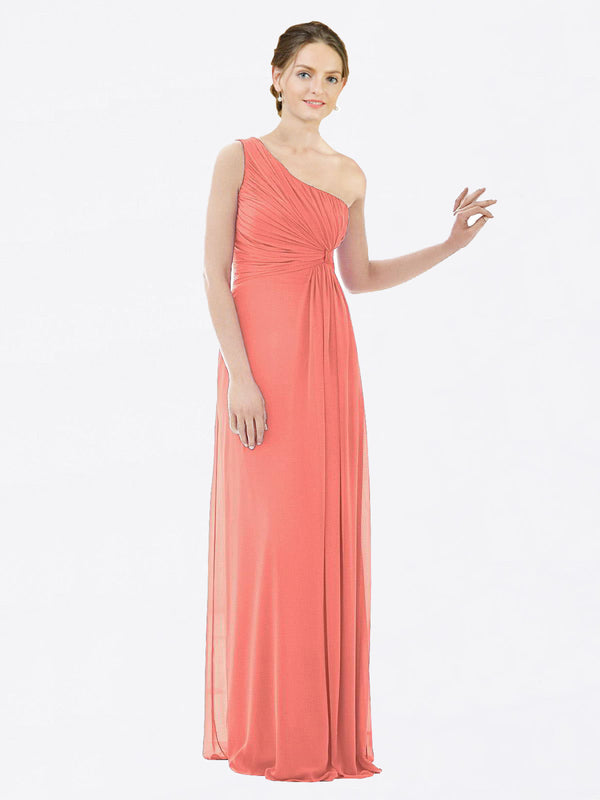 Long A-Line One Shoulder Sleeveless Coral Chiffon Bridesmaid Dress Lexi