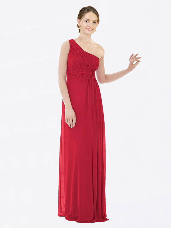 Long A-Line One Shoulder Sleeveless Dark Red Chiffon Bridesmaid Dress Lexi