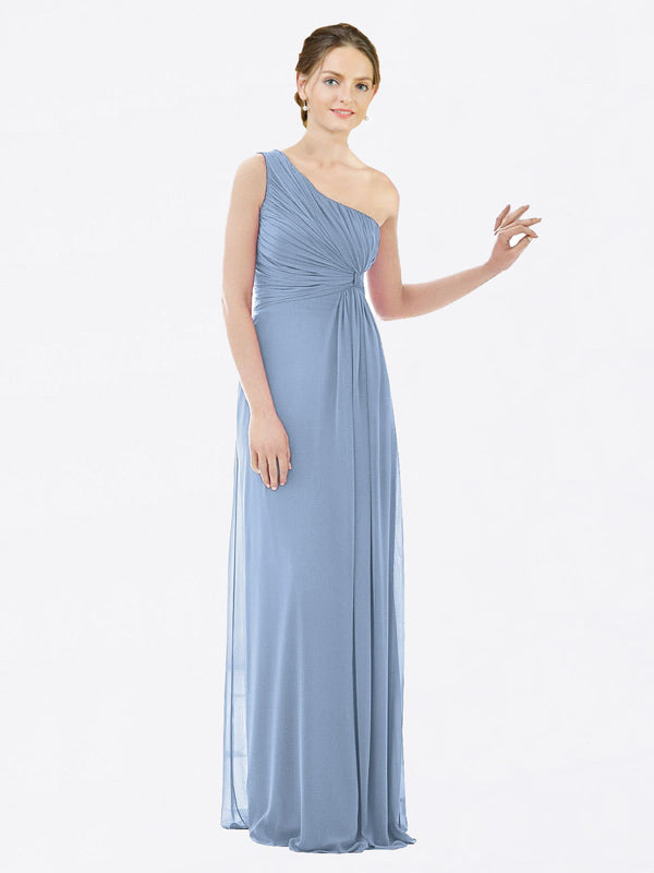 Long A-Line One Shoulder Sleeveless Dusty Blue Chiffon Bridesmaid Dress Lexi