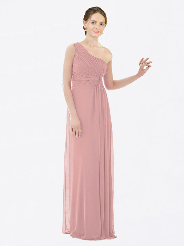 Long A-Line One Shoulder Sleeveless Dusty Pink Chiffon Bridesmaid Dress Lexi