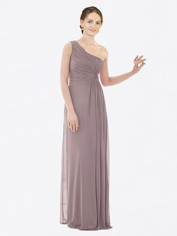Long A-Line One Shoulder Sleeveless Dusty Rose Chiffon Bridesmaid Dress Lexi