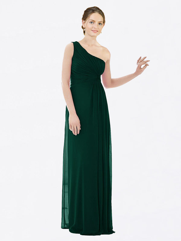 Long A-Line One Shoulder Sleeveless Ever Green Chiffon Bridesmaid Dress Lexi