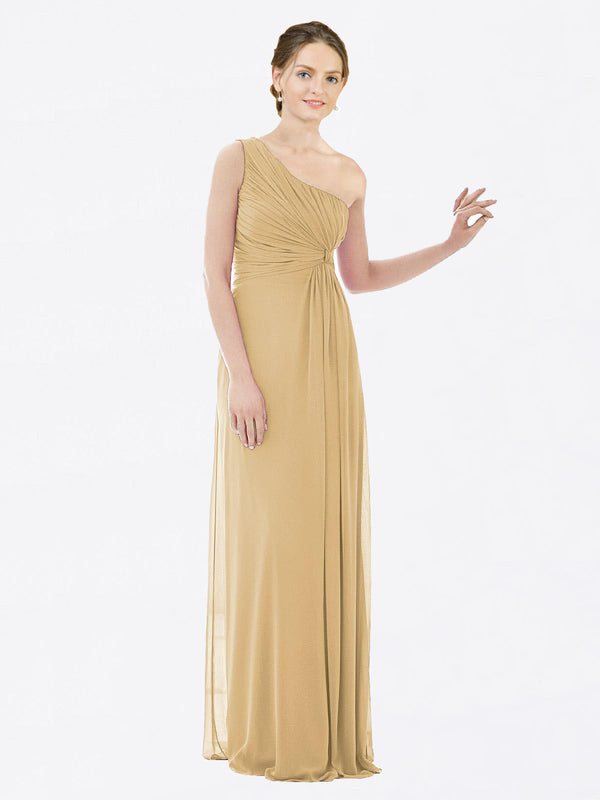 Long A-Line One Shoulder Sleeveless Gold Chiffon Bridesmaid Dress Lexi