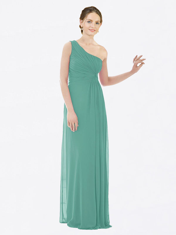 Long A-Line One Shoulder Sleeveless Icelandic Silver Chiffon Bridesmaid Dress Lexi