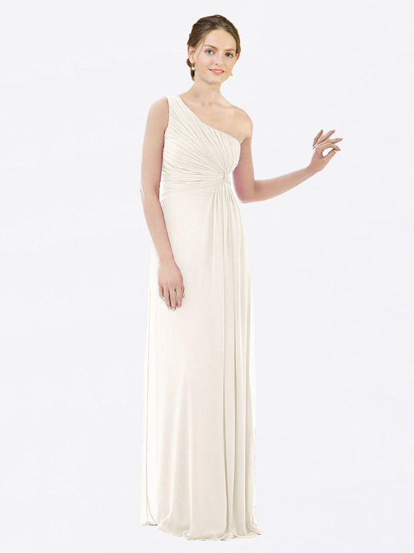 Long A-Line One Shoulder Sleeveless Ivory Chiffon Bridesmaid Dress Lexi