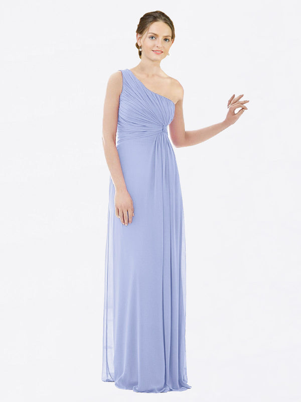 Long A-Line One Shoulder Sleeveless Lavender Chiffon Bridesmaid Dress Lexi