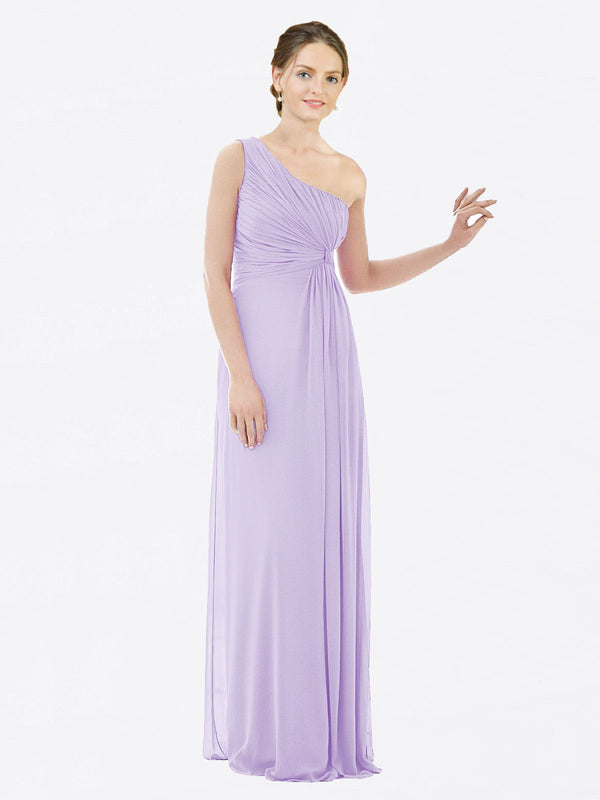 Long A-Line One Shoulder Sleeveless Lilac Chiffon Bridesmaid Dress Lexi