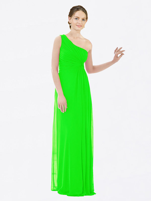 Long A-Line One Shoulder Sleeveless Lime Green Chiffon Bridesmaid Dress Lexi