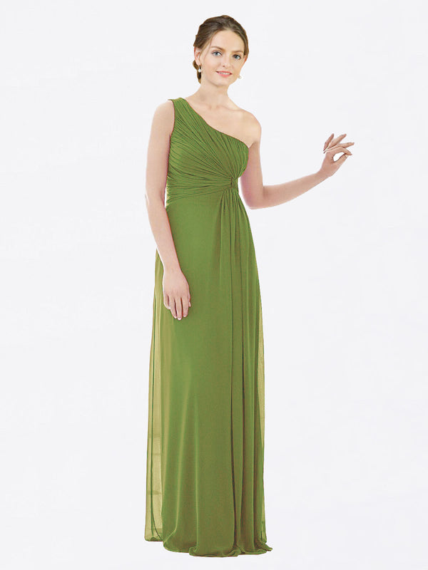 Long A-Line One Shoulder Sleeveless Olive Green Chiffon Bridesmaid Dress Lexi