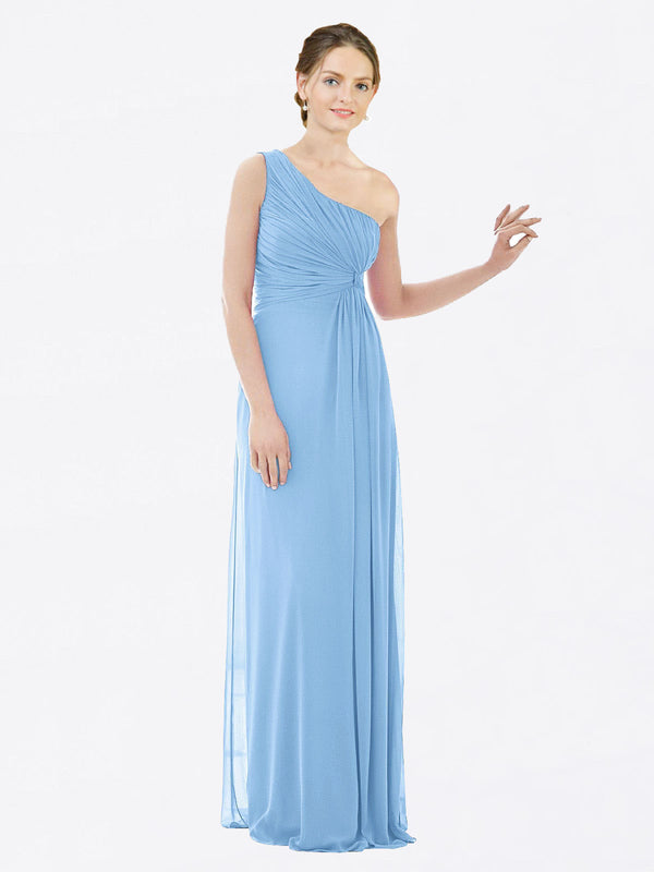 Long A-Line One Shoulder Sleeveless Periwinkle Chiffon Bridesmaid Dress Lexi