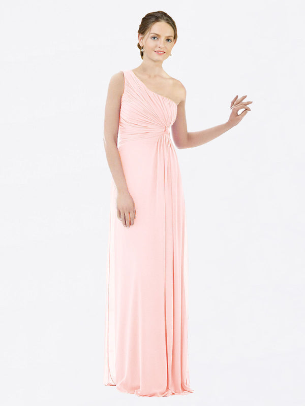 Long A-Line One Shoulder Sleeveless Pink Chiffon Bridesmaid Dress Lexi