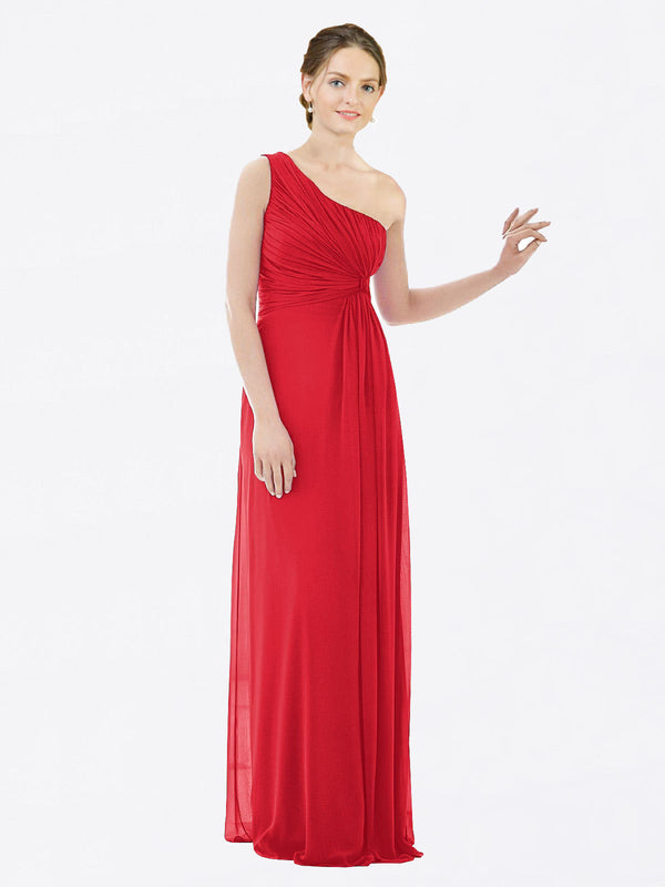 Long A-Line One Shoulder Sleeveless Red Chiffon Bridesmaid Dress Lexi