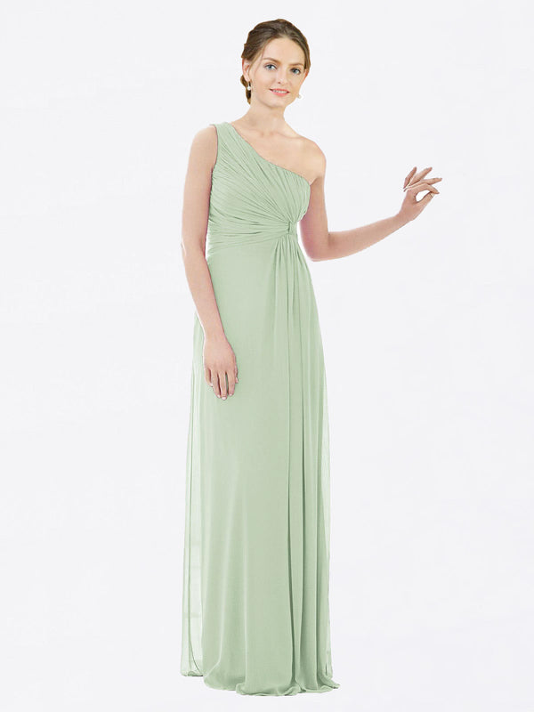 Long A-Line One Shoulder Sleeveless Sage Chiffon Bridesmaid Dress Lexi