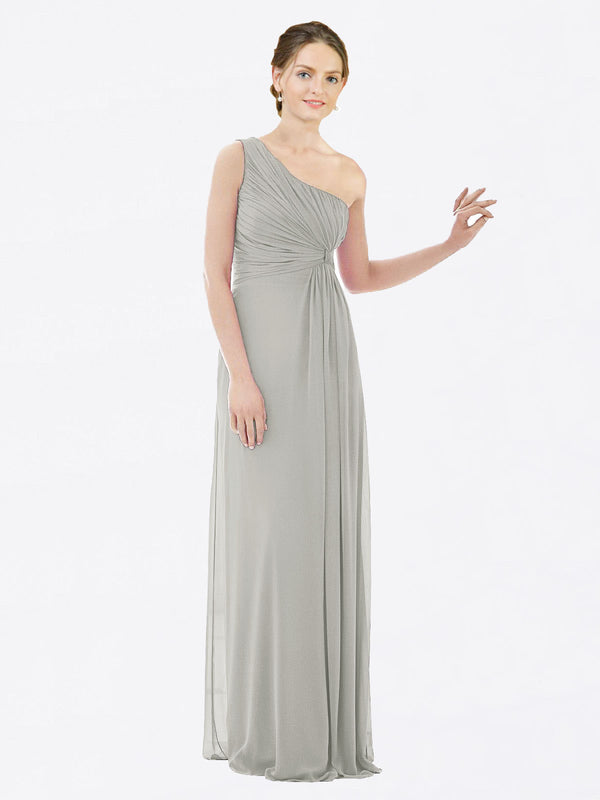 Long A-Line One Shoulder Sleeveless Silver Chiffon Bridesmaid Dress Lexi