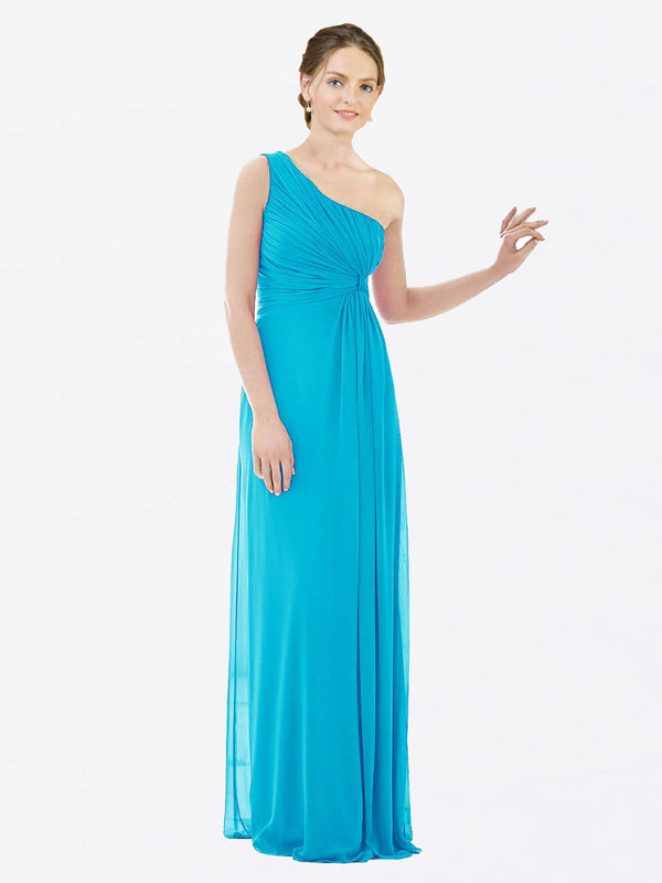 Long A-Line One Shoulder Sleeveless Turquoise Chiffon Bridesmaid Dress Lexi