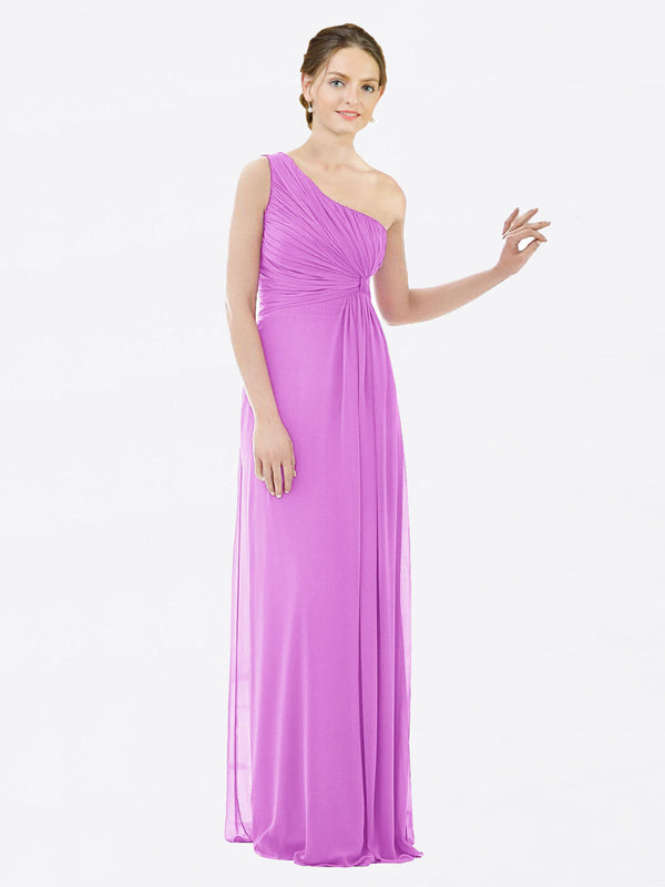 Long A-Line One Shoulder Sleeveless Violet Chiffon Bridesmaid Dress Lexi