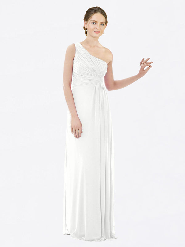 Long A-Line One Shoulder Sleeveless White Chiffon Bridesmaid Dress Lexi