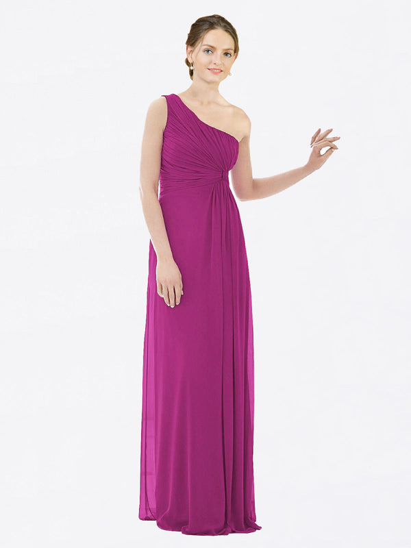 Long A-Line One Shoulder Sleeveless Wild Berry Chiffon Bridesmaid Dress Lexi