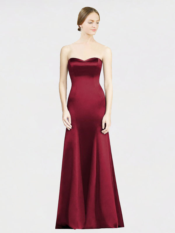 Long Mermaid Sweetheart Sleeveless Burgundy Satin Bridesmaid Dress Miranda