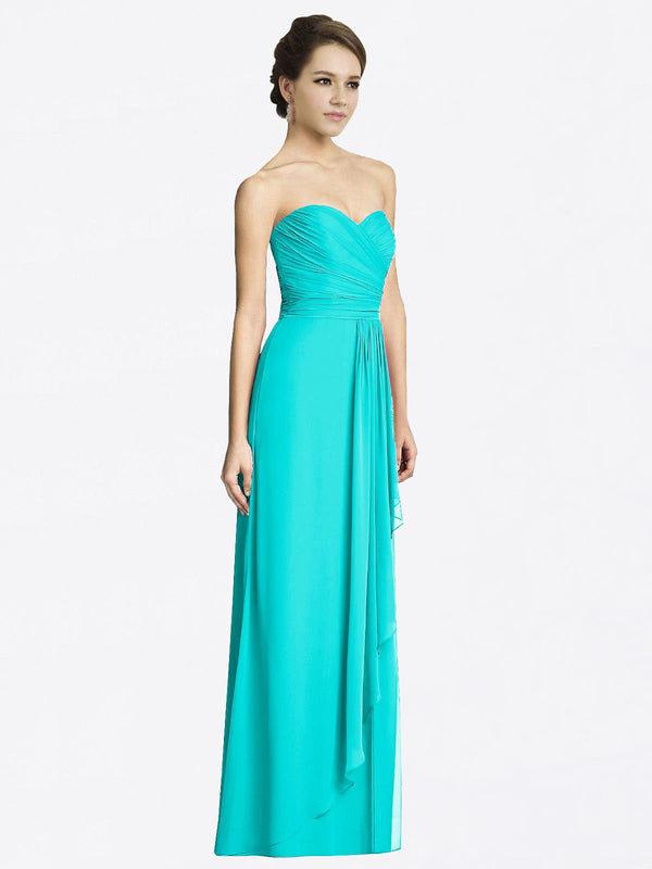 Long A-Line Sweetheart Sleeveless Aqua Chiffon Bridesmaid Dress Jacqueline