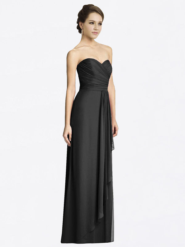 Long A-Line Sweetheart Sleeveless Black Chiffon Bridesmaid Dress Jacqueline