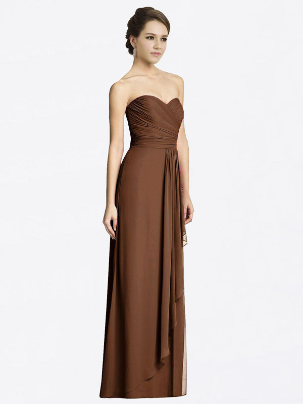 Long A-Line Sweetheart Sleeveless Brown Chiffon Bridesmaid Dress Jacqueline