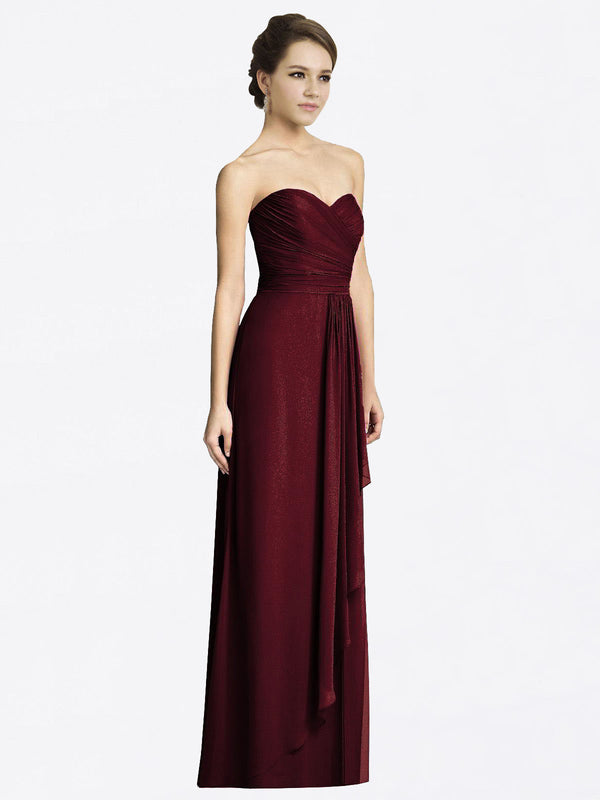 Long A-Line Sweetheart Sleeveless Burgundy Gold Chiffon Bridesmaid Dress Jacqueline